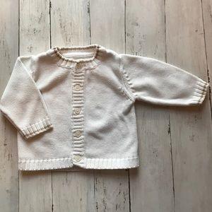 Baby Gap White Cardigan, 3 to 6 months